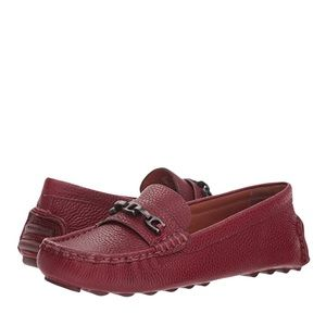 Coach Crosby Driver Loafers Merlot Grainy Leather Chainlink 9.5